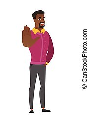 African-american business man showing palm hand.