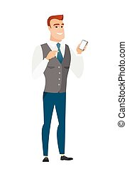Caucasian business man holding a mobile phone. - Happy...