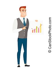 Caucasian business man showing financial chart. - Caucasian...