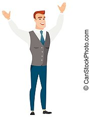 Successful caucasian businessman jumping. - Successful...