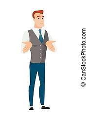 Caucasian confused businessman shrugging shoulders -...