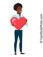 Caucasian business man holding a big red heart. - Caucasian...