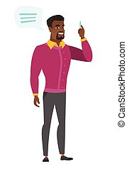 African-american businessman with speech bubble. - African...