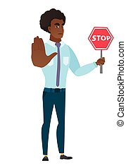 Caucasian businessman holding stop road sign. - Caucasian...