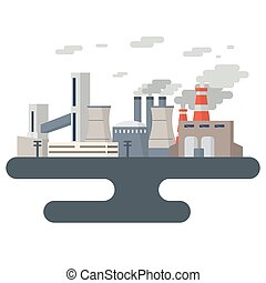 Air Pollution Cityscape - Illustration of a building power...