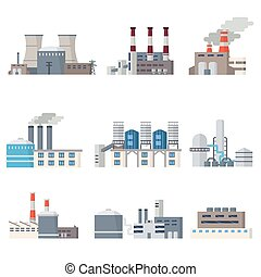 Industrial buildings icon set