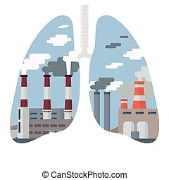 Air Pollution Cityscape - Pollution of the environment...
