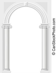 Classical white arch - Classic antique arch portal with...