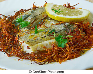 Hake with Bayonne Ham. Pan-fry hake steaks in a bit of olive...