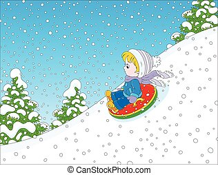 Child with an inflatable snow tube - Vector illustration of...