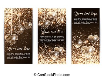Vertical banners with hearts - A set of vertical banners in...