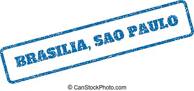 Brasilia Sao Paulo Rubber Stamp - Blue rubber seal stamp...