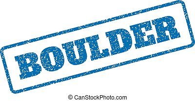 Boulder Rubber Stamp - Blue rubber seal stamp with Boulder...