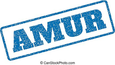 Amur Rubber Stamp - Blue rubber seal stamp with Amur text....