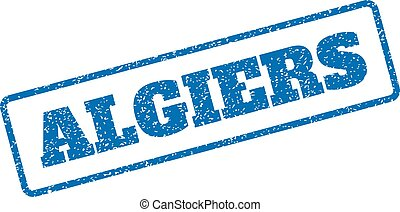 Algiers Rubber Stamp - Blue rubber seal stamp with Algiers...