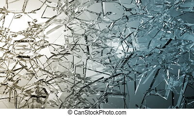 Pieces of destructed Shattered glass in slow motion. Alpha...