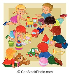 Little boys and girls sitting on the floor playing with toys