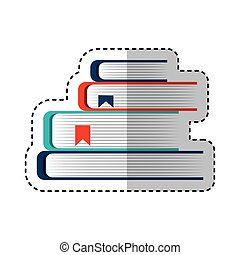 text book pile isolated icon