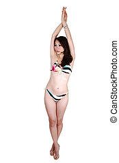 Slim girl in bikini.