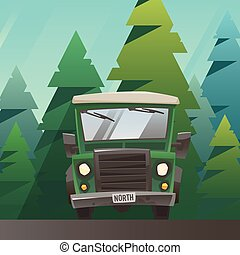 Green off road truck ride through the forest