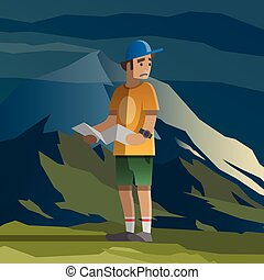 Man with map lost in the mountains.