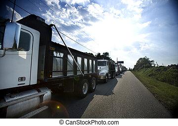 dump trucks - fleet of dump trucks
