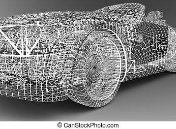 Wireframe car - A wireframe car