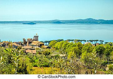 castle lake aerial lazio landscape bolsena
