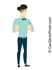 Asian confused businessman shrugging shoulders - Confused...