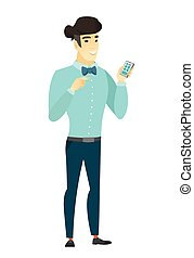 Asian business man holding a mobile phone. - Happy...