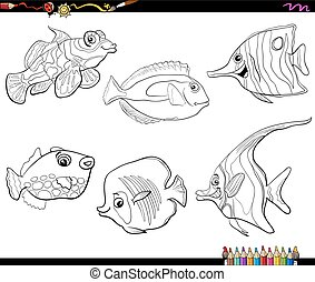 cartoon fish set coloring page - Black and White Cartoon...