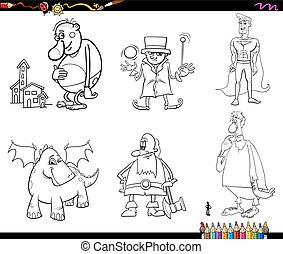 fantasy set coloring page - Black and White Cartoon...
