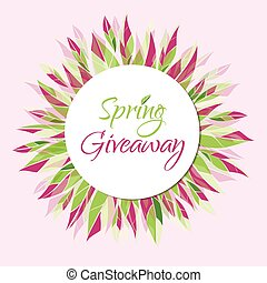 Spring giveaway vector card with leaves. Floral banner