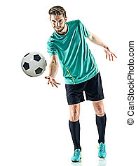 one soccer player man standing isolated white background