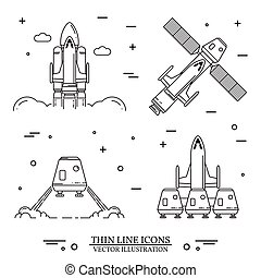 Space shuttle takes off on the white background.