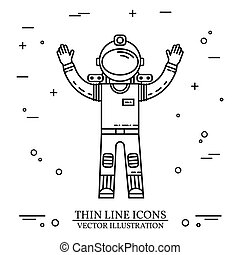 Astronaut in space. Human mission to Mars. For web design...