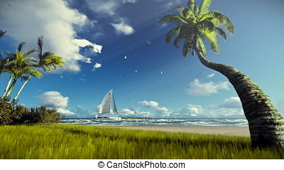 Tropical island, palm trees blowing in the wind and yacht sailing