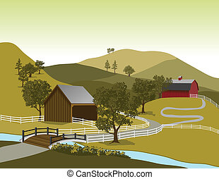 American Farm Scene - Illustration of a typical American...