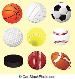 Set of sport balls, vector realistic illustration