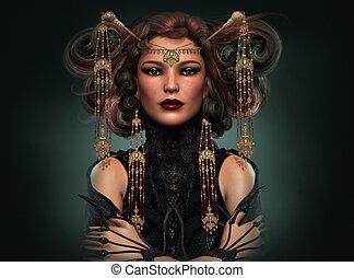 Dragon Queen, 3d CG - 3d computer graphics of a Portrait of...