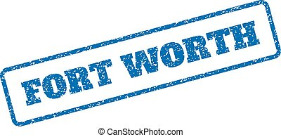 Fort Worth Rubber Stamp - Blue rubber seal stamp with Fort...