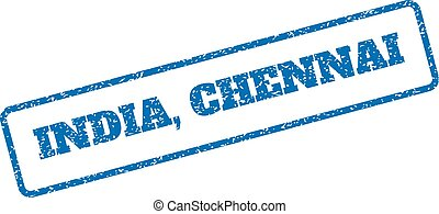 India Chennai Rubber Stamp - Blue rubber seal stamp with...