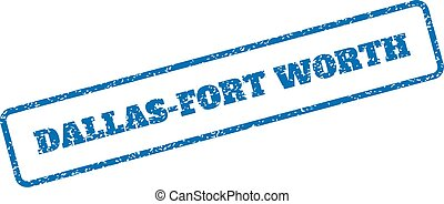 Dallas-Fort Worth Rubber Stamp - Blue rubber seal stamp with...