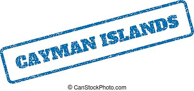 Cayman Islands Rubber Stamp - Blue rubber seal stamp with...