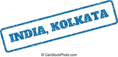 India Kolkata Rubber Stamp - Blue rubber seal stamp with...