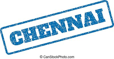 Chennai Rubber Stamp - Blue rubber seal stamp with Chennai...