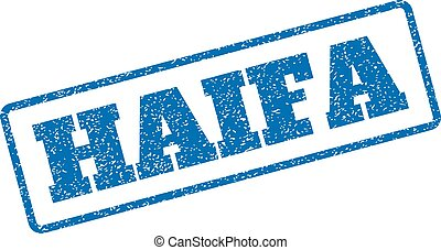 Haifa Rubber Stamp - Blue rubber seal stamp with Haifa text....