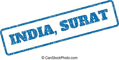 India Surat Rubber Stamp - Blue rubber seal stamp with...
