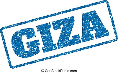 Giza Rubber Stamp - Blue rubber seal stamp with Giza text....