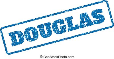 Douglas Rubber Stamp - Blue rubber seal stamp with Douglas...